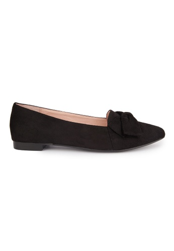 MAUD FRIZON black Faux Suede Point Toe Loafers With Bow MA153SH2VTZLHK_1