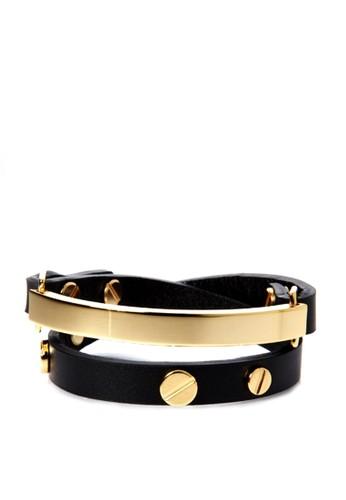 VENesprit twIMEUX Double系列金色牛皮雙層手鐲, 飾品配件, 手鐲 & 手環