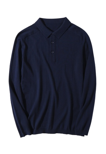 HAPPY FRIDAYS Simple Knitted Long Sleeve Polo Shirt MMK2849 963B9AA63DFB9EGS_1