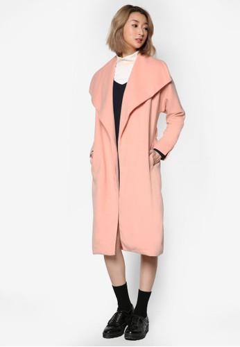 寬翻zalora 手錶 評價領腰帶長版外套, 服飾, 外套