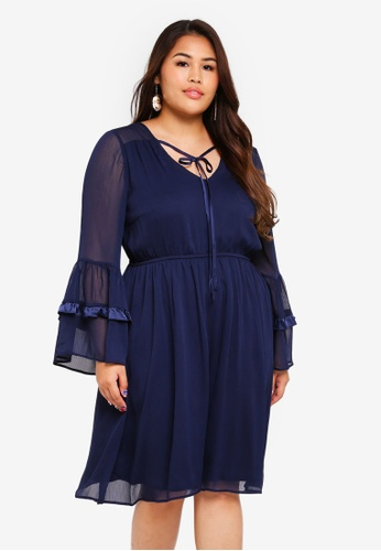 LOST INK PLUS navy Plus Size Crinkle Dress With Satin Trims 93C81AAB4E3443GS_1