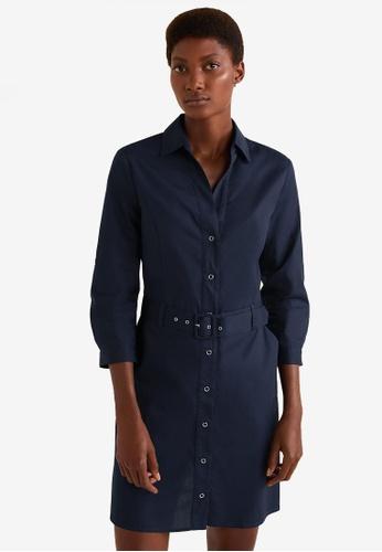 MANGO blue and navy Belt Cotton Dress 76D0CAAA9F2159GS_1