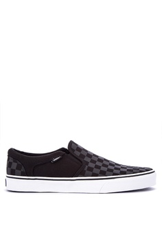 Vans black Asher Slip on Sneakers A8FFFSHB5D65C9GS_1