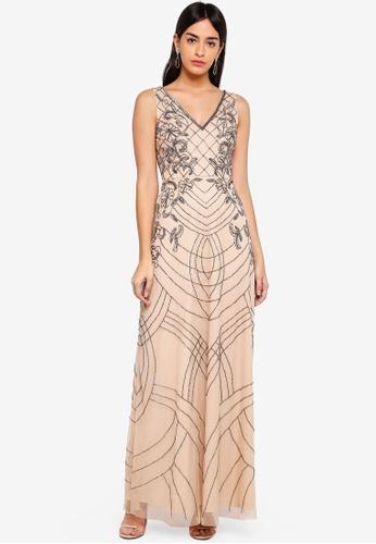 Lace & Beads grey Mishan Maxi Dress 7ABD4AAD92D649GS_1