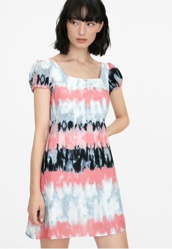 Pomelo pink Puffed Sleeves Tie Dye Dress - Pink 5368EAA410ED5AGS_1