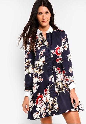 ZALORA multi and navy Flare Shirt Dress B883CAA1746EEDGS_1