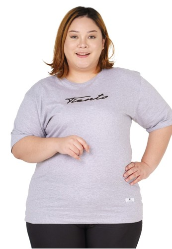 Tiento grey Tiento T-Shirt Jumbo Sign Grey Baju Kaos Lengan Pendek Big SIze Wanita 2E673AA6601306GS_1