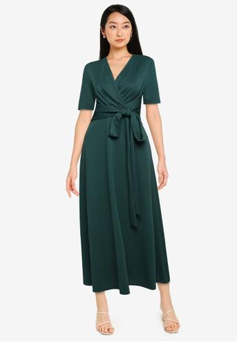 ZALORA BASICS green Cross Tie Front Midi Dress A36C0AA5E78B6DGS_1