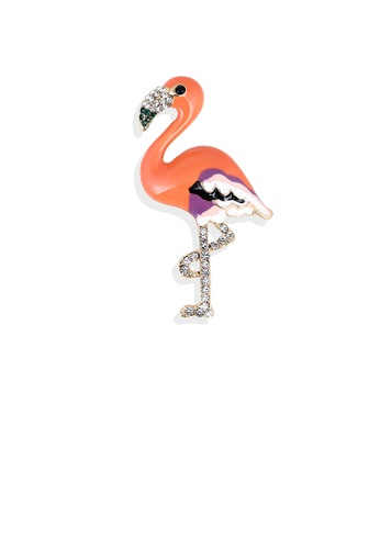 Glamorousky white Simple and Fashion Plated Gold Enamel Orange Flamingo Brooch with Cubic Zirconia 2A014AC892593AGS_1