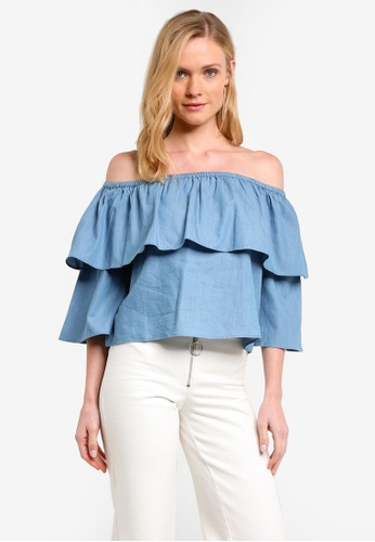 ZALORA blue Off The Shoulder Ruffle Sleeve Top 49E90AABFCCC51GS_1