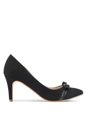 Velvet black Heels with Bow Detail 5A03ASH6EE4411GS_1