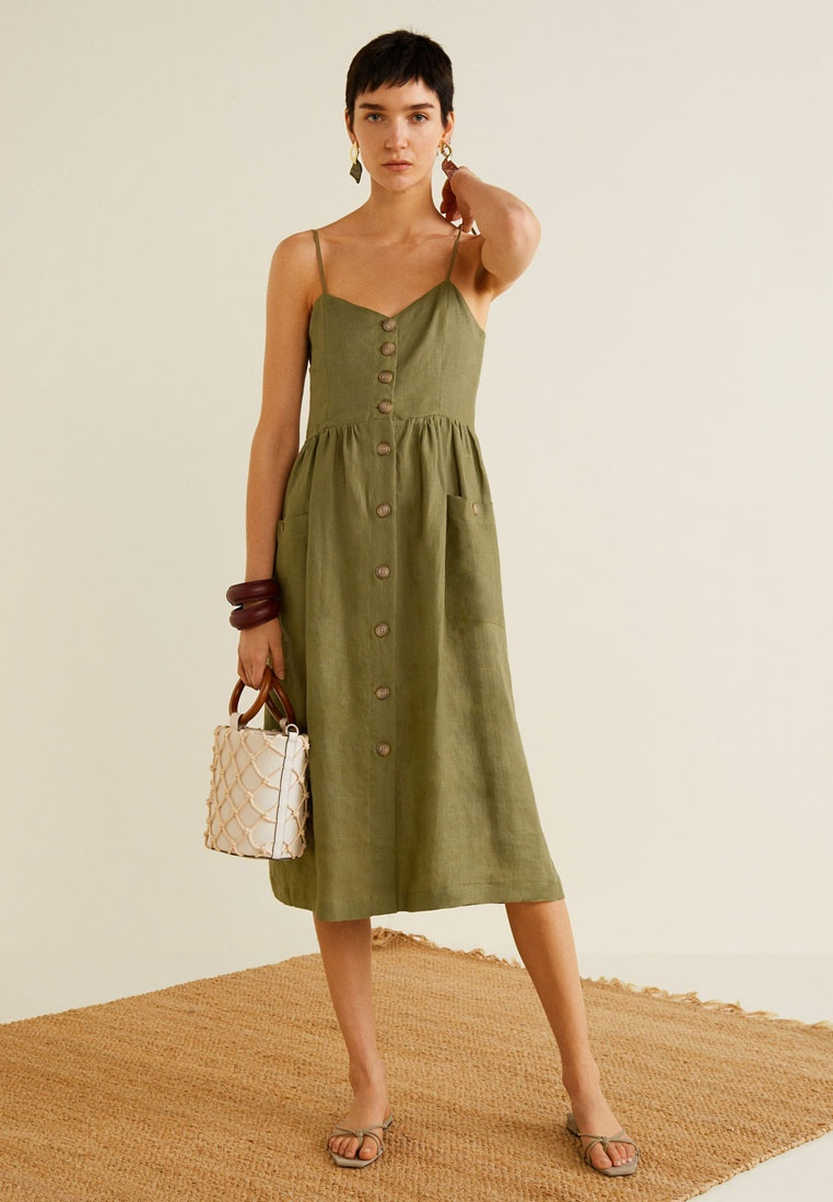 Khaki Blend Dress Linen Pockets Mango Ccqva7ywx0
