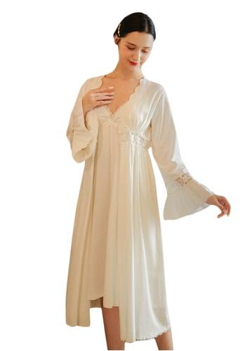 LYCKA white LML1294-Lady Lace Pajamas Two Pieces Set-White 86559AA2400906GS_1