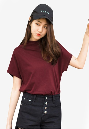 Tokichoi red Mockneck Basic Tee 994D2AACAF54F9GS_1