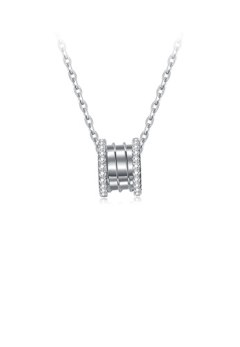 Glamorousky white 925 Sterling Silver Simple and Fashion Round Bead Pendant with Cubic Zircon and Necklace 30976ACDD9A873GS_1