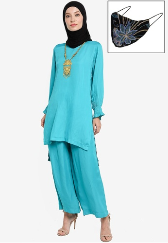 Yans Creation green and blue Tunic Blouse set with Free Selendang and Reusable Face Mask B79F8AA219BC3EGS_1