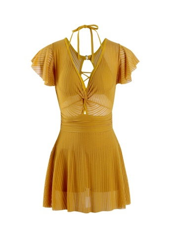 Its Me yellow Sexy Gauze One-Piece Swimsuit 4D36EUS5C2E35FGS_1
