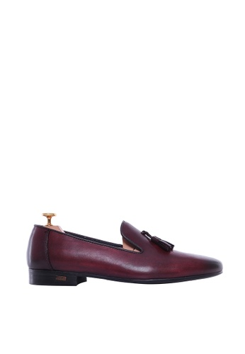 Zeve Shoes red Zeve Shoes Loafer Slipper - Red Burgundy  (Hand Painted Patina) 59844SHACD1CDEGS_1