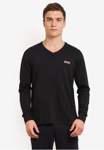 2GO black Full Sleeve V-Neck T-Shirt 2G138AA0V5RTID_1