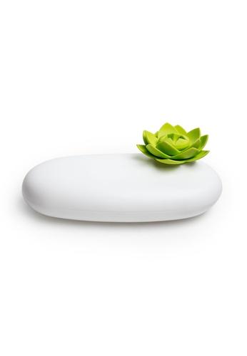 Qualy Qualy Lotus Pebble Box (White/Green) 256C5HLFCC7157GS_1