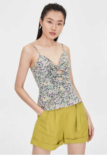 Pomelo green Cut Out Bow Tie Detail Cami - Green A6614AAF96C6A6GS_1