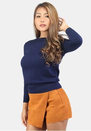 London Rag blue Fine Knit Solid Sweater D7730AA5FEEB17GS_1