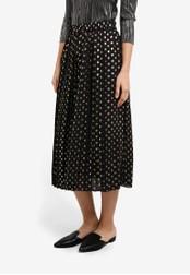 WAREHOUSE black Metallic Spot Pleated Skirt WA653AA0SBZLMY_1