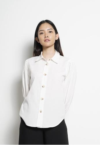 SUB white Women Pleated Long Sleeve Shirt 316C7AA51BDC05GS_1