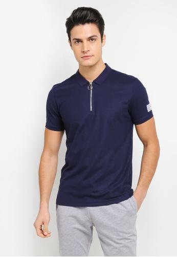 JAXON blue Ring Zipper Polo Shirt 8A81BAAF97FF4EGS_1