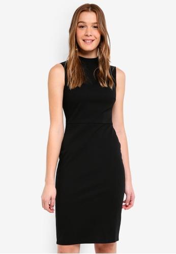Dorothy Perkins black Black Fold Neck Pencil Dress 757C9AAD19C3B0GS_1