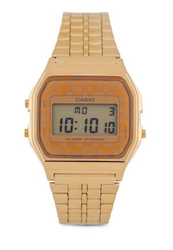 esprit 台北Casio A159WGEA-9ADF 不銹鋼電子錶, 錶類, 不銹鋼錶帶