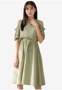 d9ec9d025f1d8 Tokichoi green V-Neck Cold Shoulder Drawstring Waist Dress  8AFDCAA77A673BGS_1
