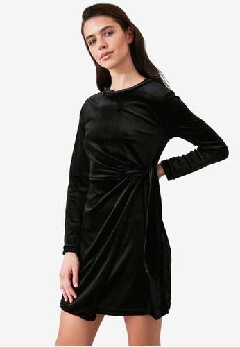 Trendyol black Side Tie Wrap Detail Velvet Dress 56CC6AA258D30DGS_1