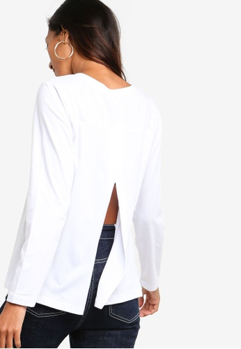 ZALORA BASICS white Basic Long Sleeves Round Neck Top 89417AA03B8882GS_1
