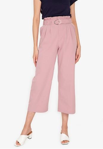 ZALORA BASICS pink Pleat Detail Pants With Belt 7A39CAA345A68BGS_1