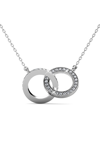 Her Jewellery silver Circle Twin Pendant (White Gold) - Embellished with Crystals from Swarovski® 865D5AC29472DDGS_1