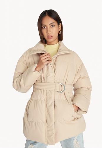 Pomelo beige Belted Puffer Jacket - Beige 2B27AAA32120D0GS_1