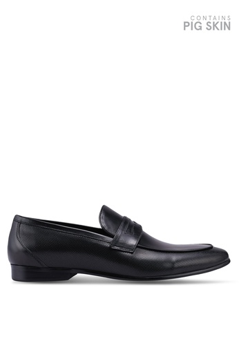 Dune London black Paw Chisel Toe Perf Loafers D1449SH1B74D74GS_1