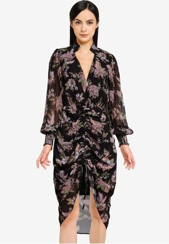 Goddiva black Drawstring Printed Shirt Midi Dress AEE62AA79A2BB6GS_1