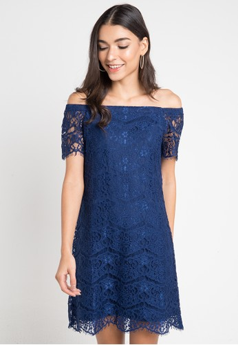 B.L.F navy Vareen Lace Dress BL612AA02ESBID_1