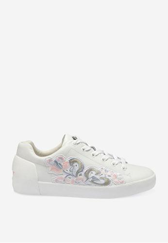 ASH 白色 Nak Bis - 米灰色刺繡補丁運動鞋 ECC35SH564BA5BGS_1