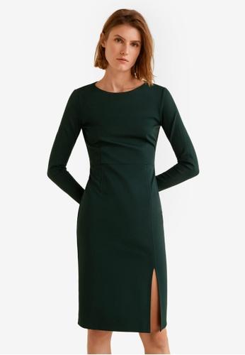 Mango green Side Slit Knit Dress A0DCAAA0B61ED1GS_1