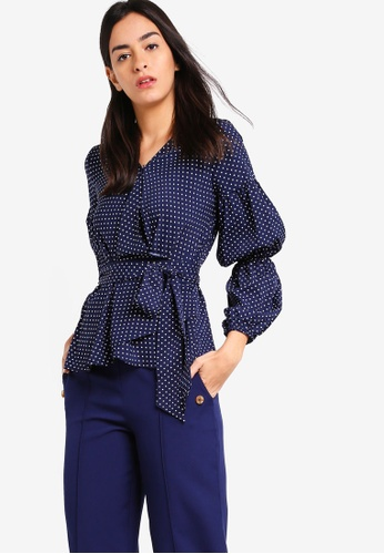 ZALORA navy Overlap Long Sleeves Blouse EB53DAA38DFACDGS_1