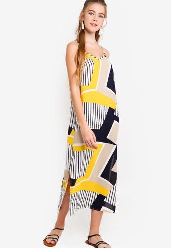 Something Borrowed white and blue Midi Slip Dress With Slits F453DAAACF056EGS_1