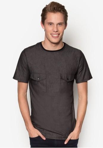 丹寧拼接esprit 內衣雙口袋TEE, 服飾, T恤