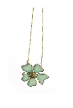 Pilgrim Green Stone Flower Necklace