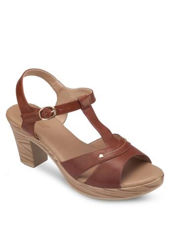 鏤空T 字帶粗跟esprit童裝門市涼鞋, 女鞋, 中跟