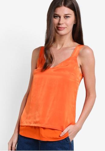WAREHOUSE orange Satin Front Tie Cami WA653AA80RTNMY_1