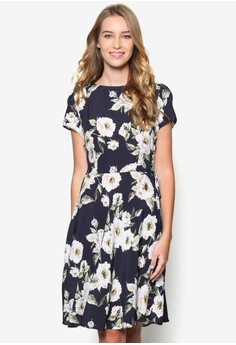 Floral Tie Side Fit And Flare Dress