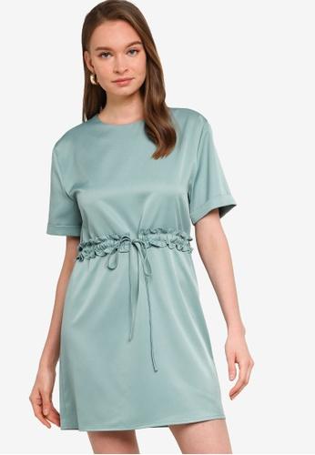 ZALORA WORK green Drawstring Short Sleeve Mini Dress A3881AA87C03CBGS_1